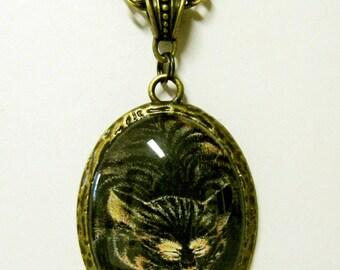 Black and orange cat pendant with chain - CAP09-025