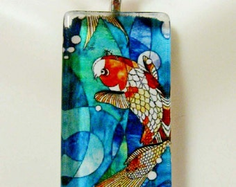 Koi stained glass window pendant and chain - WGP12-008