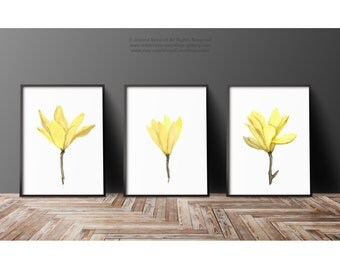 Yellow Magnolia Watercolor Painting, set 3 Floral Art Prints, Abstract Flower Illustration Mother's Day Gift Idea, Minimalist Wall Decor