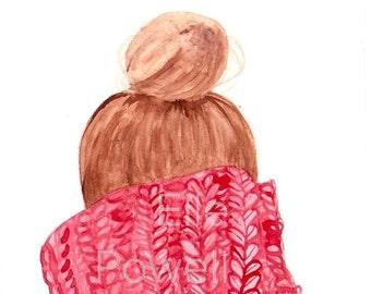 Cut & Cozy Red Winter Sweater Illustration - PRINT