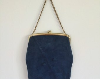 Vintage 1950s Blue Suede Clutch Purse Handbag Evening Bag Chain Strap 9x8