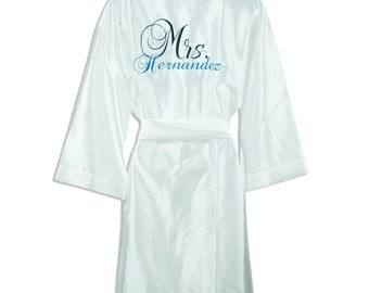 Bridal Robes - Personalized SATIN Robe with Name on the Front and Back - Wedding Robes with Name