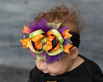 Halloween Hair Bow - OTT Halloween Headband - Halloween Girls Hair Clip - Purple, Orange Green Halloween Bow