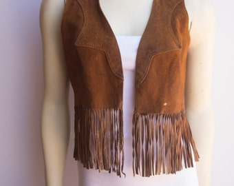 Quirky Distressed 70's Vintage Women's Fringed Tan Leather Vest