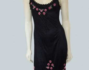Lovely Betsey Johnson Crochet Floral Applique Slip Dress