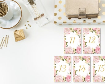 Gold and Blush Table Numbers 11-20