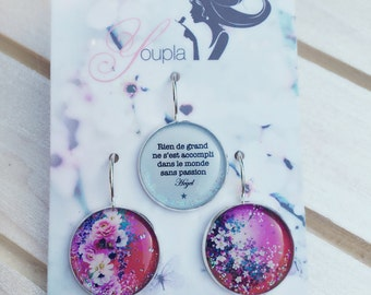 Trio of earrings in resin (18mm in diameter) - Chacha by Iris - trio 19 - collection La Plume to the ear