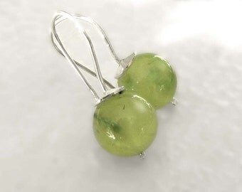 Earrings in sterling silver with Prehnit, earrings green - designed by SILVER LOUNGE