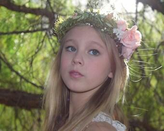 Peach Flower Crown - blush peach rose flower girl crown- blush hair wreath - photo prop - bridal floral hair wreath - flower girl crown