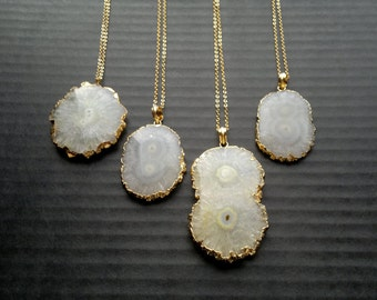 Solar Quartz Necklace Solar Quartz Jewelry Stalactite Necklace White Slice Stone Necklace Stone Jewelry Gold Edged Quartz Boho Jewelry Round