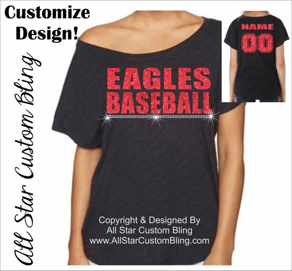 Custom baseball mascot off shoulder dolman shirt custom for Custom baseball tee shirts