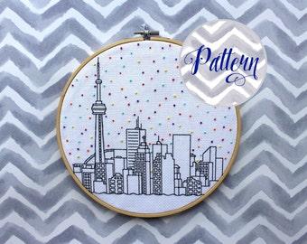 Hello Toronto Cross Stitch Pattern. Confetti City Skyline. Cityscape. Digital PDF Pattern. CN Tower. Blue Jays. Raptors. Maple Leafs.