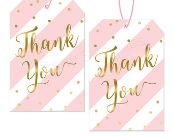 Pink Stripes & Gold Printable Favor Thank you Tags - Girl Baby Shower First 1st Party - Instant Download!
