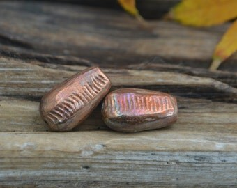 Fossil Impressions- Handmade Hollow Copper Bead Pair