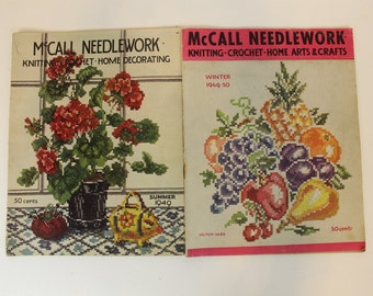 McCall Needlework, Knitting, Crochet, Home Decorating, Arts and Crafts,  Magazines, Winter 1949-50 and Summer 1949, Vintage Magazines