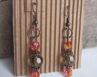 bohemian earrings Elegant crystal AB orange rose faceted czech glass boho earrings sparkly earrings copper drop earrings  ladies earrings
