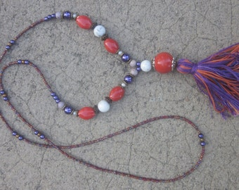 Long Beaded tassel necklace orange &  purple necklace long seed bead necklace Bohemian necklace boho necklace spring 2018 jewelry colorful
