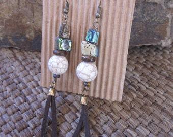 bohemian earrings Long boho earrings abalone shell white stone earrings leather tassel gypsy yoga country chic dangle drop beaded earrings