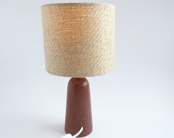 Teak Mid Century Table Lamp // 1950s table lamp teak wood // Mid century lamp shade included