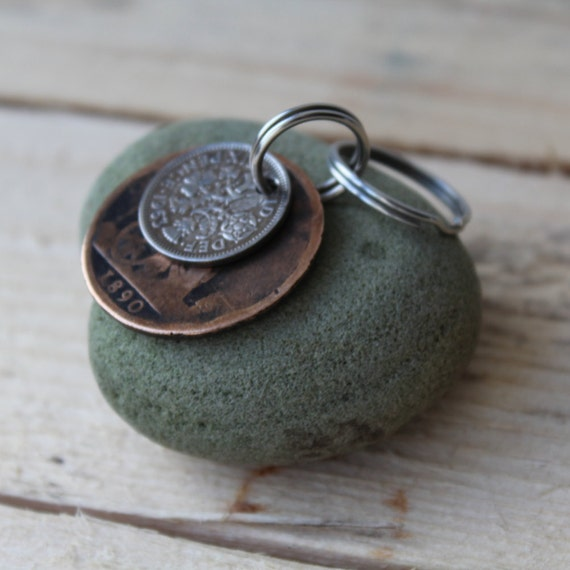 birthday gift lucky silver sixpence key ring lucky