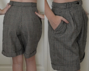 Vintage 80's Style Wool Plaid High Waisted Shorts