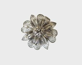 Silver Filigree Flower Brooch, Vintage, Art Deco Era, Pretty Floral Pin, Old Fashioned & Romantic, CIJ