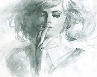 """Original watercolor painting and limited prints """"Smoking girl"""" - 8.2 x 11.8"""" - Girl painting - watercolor art - Wall Decor - Art print"""