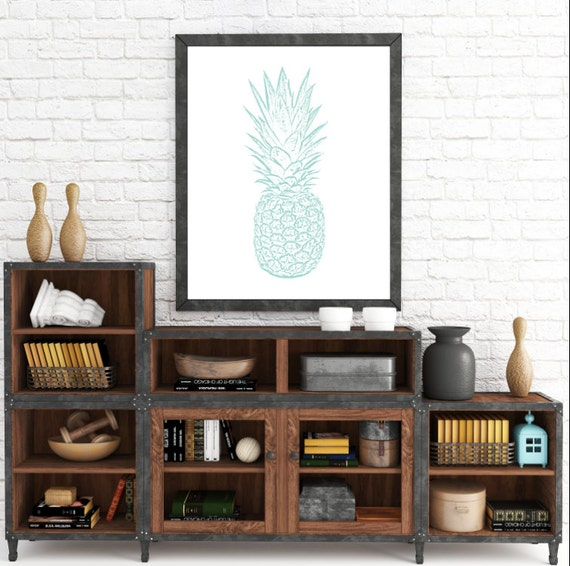 Printable Art, Turquoise Art, Beach Decor, Blue Pineapple, Blue Decor, Tropical Wall Prints, Summer Prints, Downloadable Art, Pineapple Art
