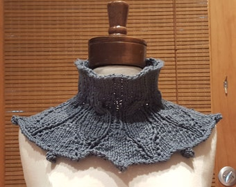 Hand Knit Blue Cotton Neck Warmer / Cowl / Scarf / Infinity Scarf / Snood
