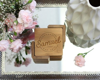 Personalized Coaster Set, Square Wood Coaster Set, Engraved Coasters, Rustic Heart Initial Coaster Set - Set of 6 --21115-CST2-001