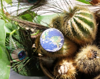 Earth from space photograph 32mm pin back badge