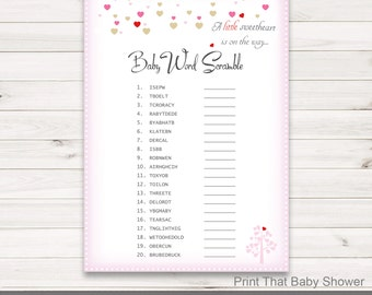 Baby Shower Games - Baby Word Scramble Game - Valentine Baby Shower - Pink Hearts Shower Games - Baby Names Game - Valentine Hearts