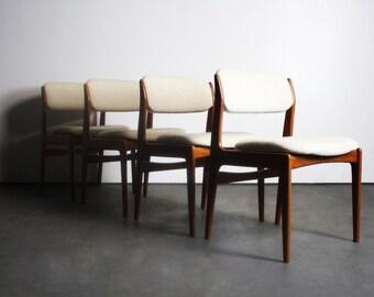 Set of Four Benny Linden Teak Modern Dining Chairs