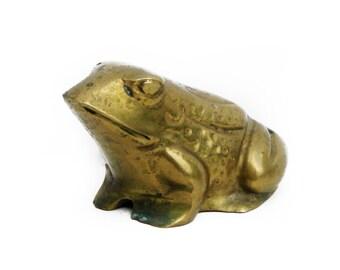 Vintage Brass Toad Frog Bullfrog Figurine