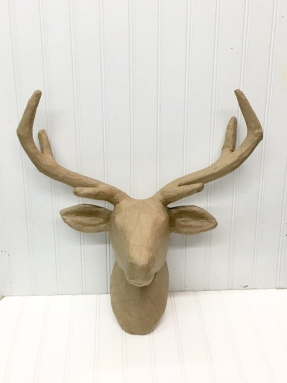 Deer Mount Wall Decor : Paper mache deer head animal large
