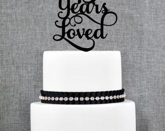 45 Years Loved Birthday Cake Topper, Elegant 45th Anniversary Cake Topper, 45th Cake Topper- (T245-45)