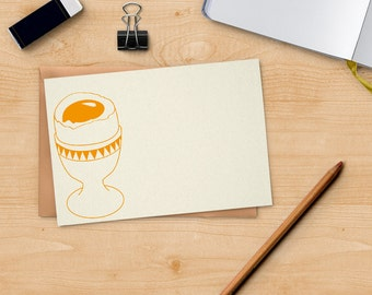 Soft-boiled egg card - scandinavian art - folk print - Letterpress notecard - gift for him - eco friendly card - nordic design