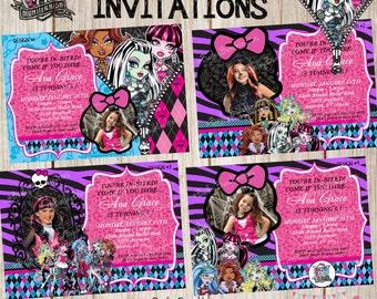 Monster High Birthday Party Photo Invitations, Monster High Invitations, Monster High Birthday Party