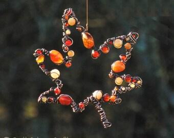 Ahorn Blatt Suncatcher, Herbst Dekor, Herbstlaub, Metall Garten Kunst, Rote  Dekoration,