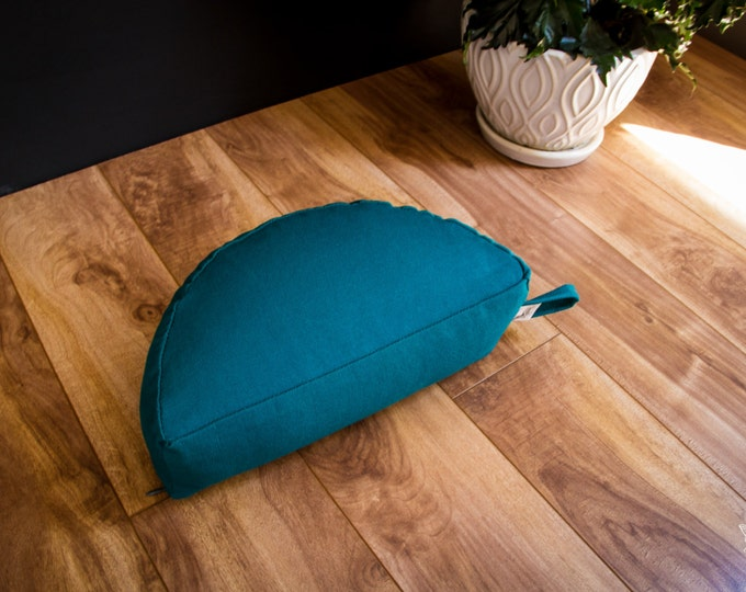 Crescent Travel meditation cushion half moon zafu Teal buckwheat pillow handmade by Creations Mariposa C-SU