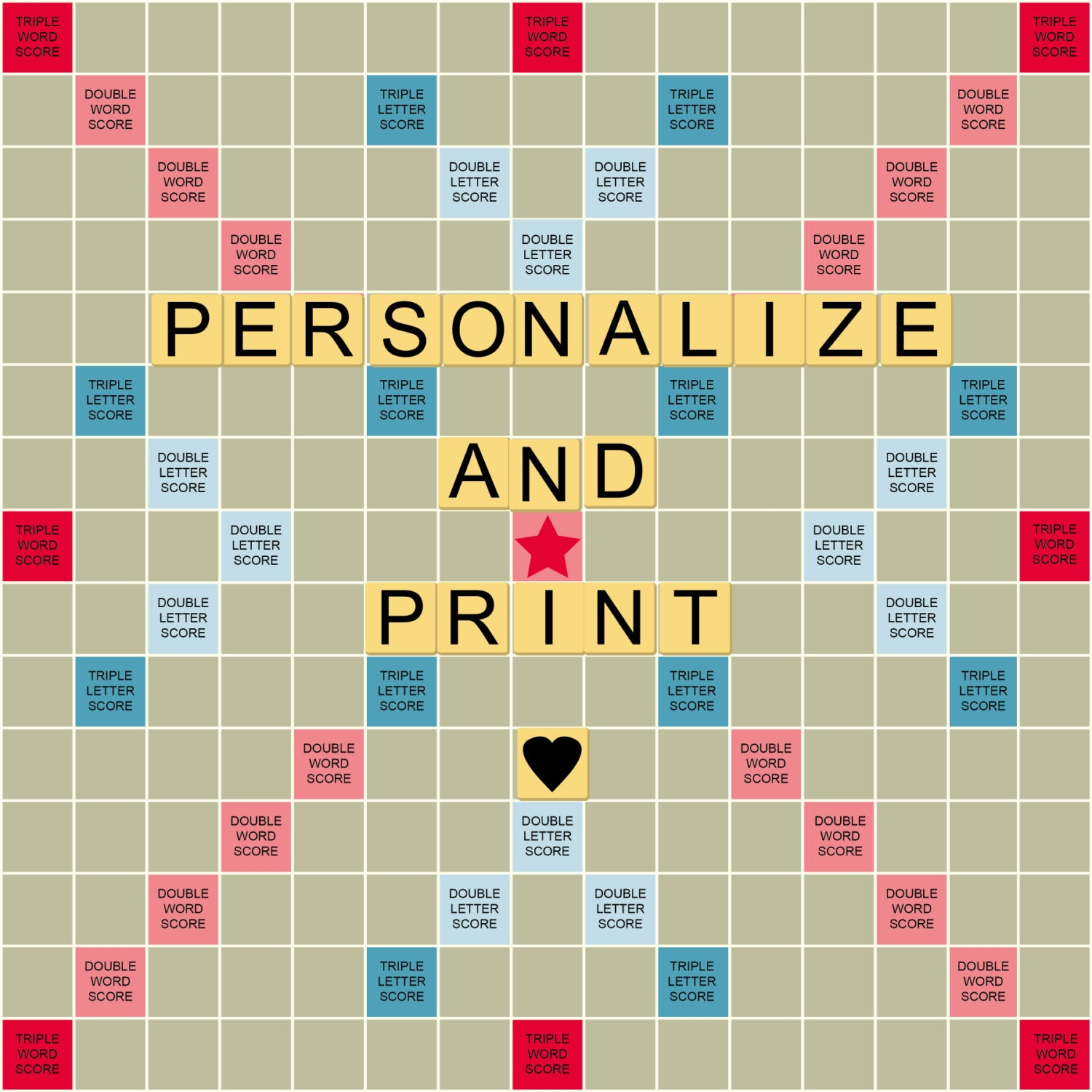 Personalize print a scrabble styled game board perfect for for Scrabble template printable