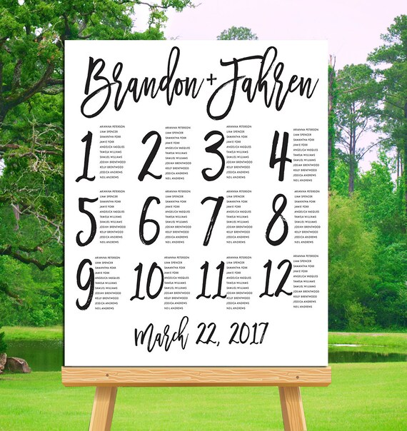 Printable Seating Chart For Wedding Reception: Wedding Seating Chart Printable Alphabetical By