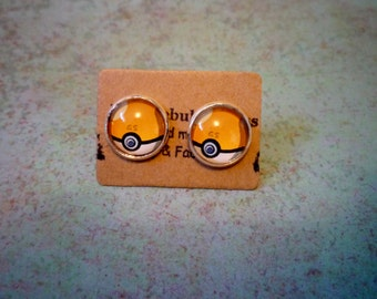 Gs ball Earrings, Pokeball earrings, Pokemon Earrings, Pokemon Go, Pokémon jewelry, Pokemon gift, team valor mystic instinct,Poke ball