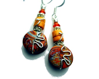 Red, Orange, and Silver Wire Wrapped Polymer Clay Earrings