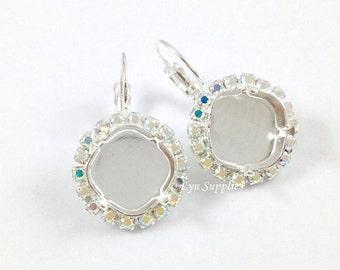 Silver Rhinestone Earrings Settings 1 Pair CRYSTAL AB Fits 12mm Swarovski Crystal 4470
