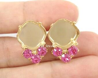 Cushion Cut Gold Stud Earring Base Fits 12mm 4470 With 3 Swarovski Crystal ROSE Pink Rhinestones 1 Pair