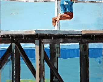 Giclee, original art print, of my, impressionist oil, modern painting, perfect art decor, for a, beach house, 'On The Jetty'.
