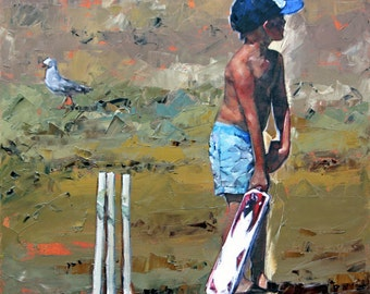 Canvas print, of my, original artwork, impressionist, oil painting, 'Beach Cricketer', colorful artwork, beach art, beach house decor.