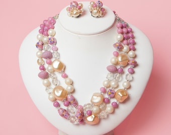 1960's Glass and Pearlized Bead Three Row Necklace and Clip On Set