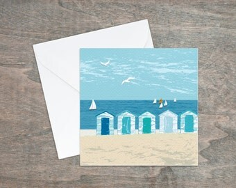 Blank greeting cards -birthday cards - beach hut - blank card - art cards - seaside - card for girlfriend - beach gifts - thank you cards